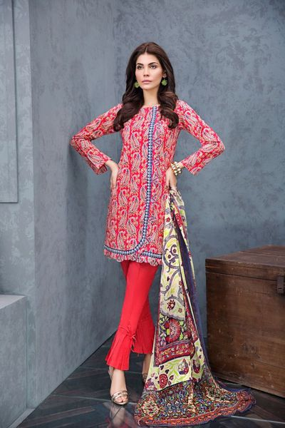 Red 3 Pc Printed Blended Chiffon Suit BM-52 by GulAhmed