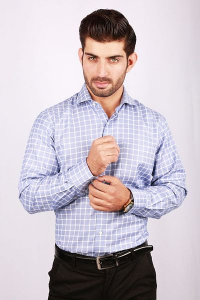 Blue Checked Formal Shirt CM-YD-2023 by GulAhmed