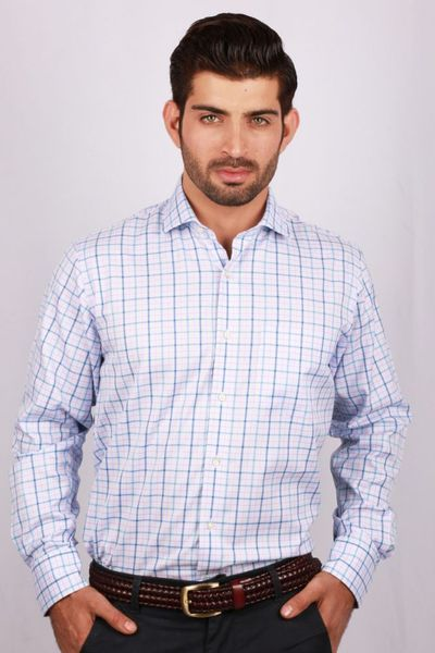 Sky Blue Checked Formal Shirt CM-YD-2025 by GulAhmed