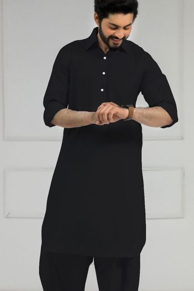 Black Dyed Poplin by GulAhmed