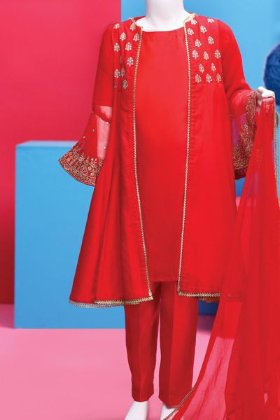 JGK-W-1918 FB/China Silk Red by Junaid Jamshed