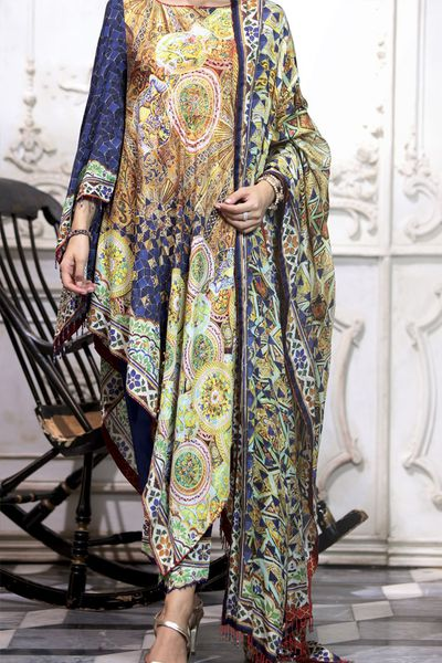 New Arrivals <br> Festive Collection 2018 <br> 3Pc Silk Dupatta - Rococo by Almirah