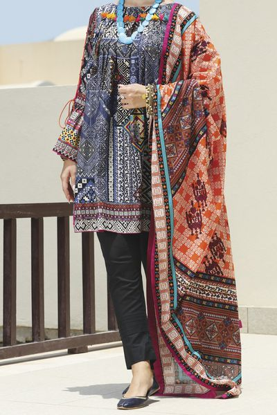 New Arrivals <br> Ornate Collection 2018 <br> 3Pc Stitched - Lawn Dupatta by Almirah