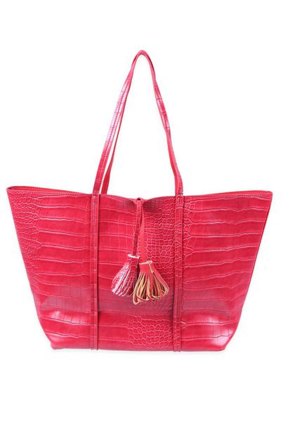Maroon Textured Leather Tote by GulAhmed