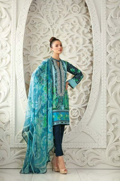 Navy 3 PC Chiffon Embroidered C-483 by GulAhmed