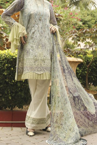 New Arrivals <br> Festive Collection 2018 <br> 3Pc Chiffon Dupatta - Le' Grandiose  by Almirah