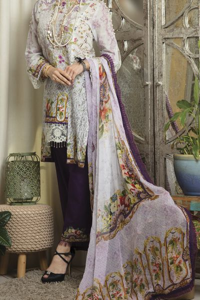 New Arrivals <br> Farfalla Collection 2018 <br> 3Pc Unstitched - Bemberg Chiffon Dupatta by Almirah