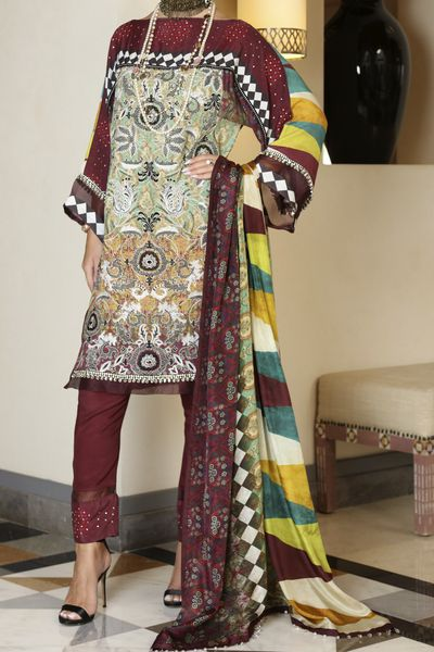 New Arrivals <br> Whimsical Collection 2018 <br> 3Pc Unstitched - Pure Silk Dupatta by Almirah