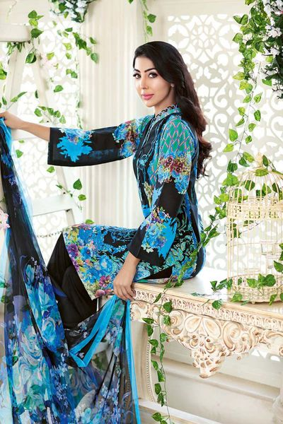 Blue 3 Pc Digital Silk Printed AS-11 by GulAhmed