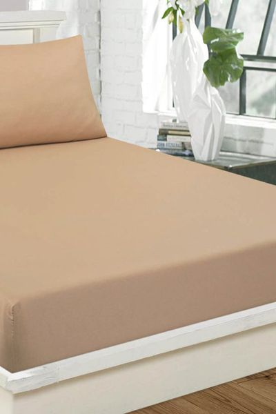 Beige  Fitted Sheet DYED FITTED T-150 by GulAhmed