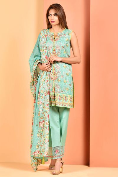 Printed & Embroidered Suit by Kayseria