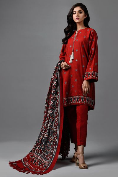 Printed & Embroidered Wool Shawl Suit by Kayseria