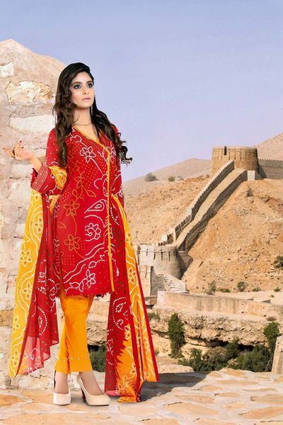 Red 3 Pc Printed Lawn CL-278 B by GulAhmed