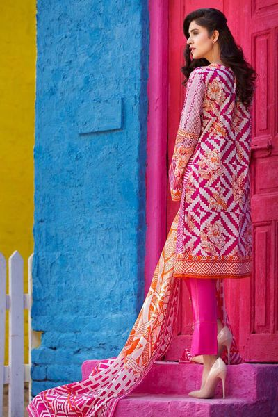 Pink 3 Pc Printed Lawn CL-303 B by GulAhmed