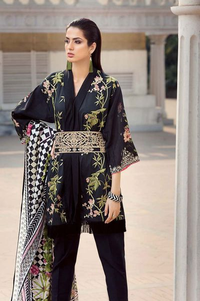 Black 3 Pc Embroidered Lawn CL-318 by GulAhmed