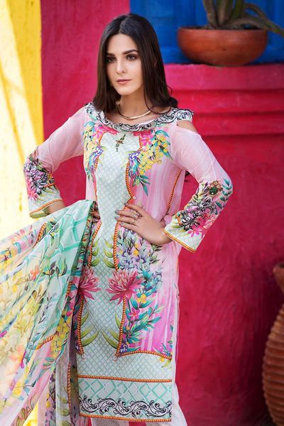Pink 3 Pc Digital Printed Lawn CL-325 A by GulAhmed