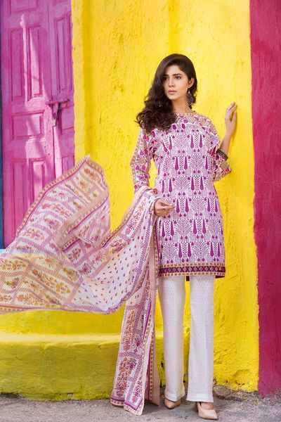 Pink 3 Pc Printed Lawn CL-333 B by GulAhmed