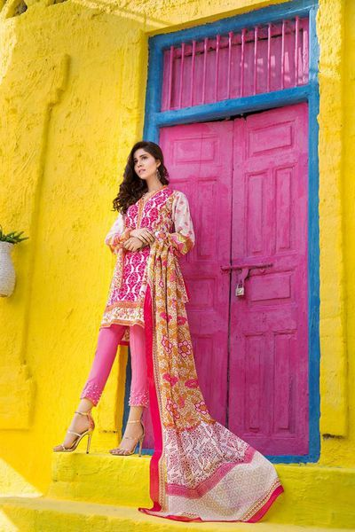 Pink 3 Pc Printed Lawn CL-373 B by GulAhmed