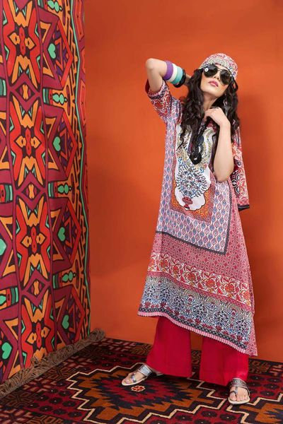 Red 3 Pc Printed Lawn CL-386 A by GulAhmed