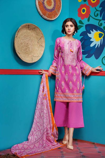 Pink 3 Pc Embroirdered Lawn CL-416 A by GulAhmed