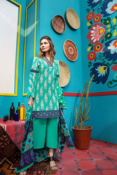 Sea Green 3 Pc Embroidered Suit CL-417 B by GulAhmed