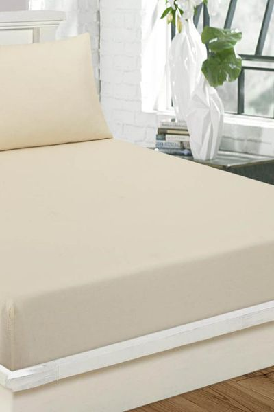 Cream  Fitted Sheet DYED FITTED T-150 by GulAhmed