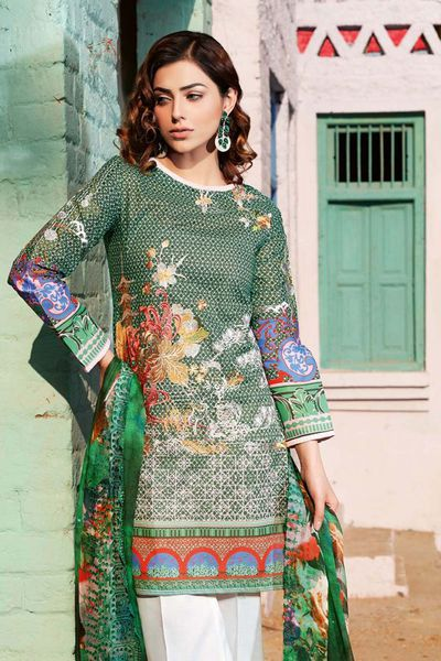 Green 3 Pc Stitched Suit CT-234 by GulAhmed
