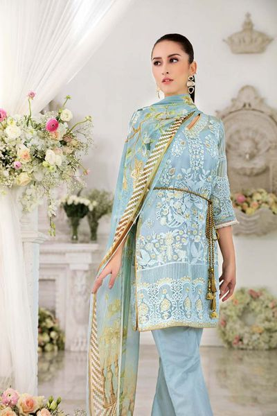 Sky Blue 3 Pc Blended Chiffon FE-136 by GulAhmed