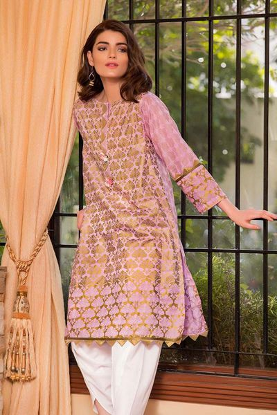 Light Purple 2 Pc Printed with Embroidered Bottom FE-143 by GulAhmed