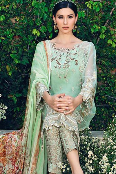 Light Green 3 Pc Blended Chiffon FE-98 by GulAhmed