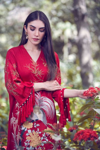 Red 2 Pc Poly Crepe Suit with Trouser GLAMOUR-18-12 by GulAhmed