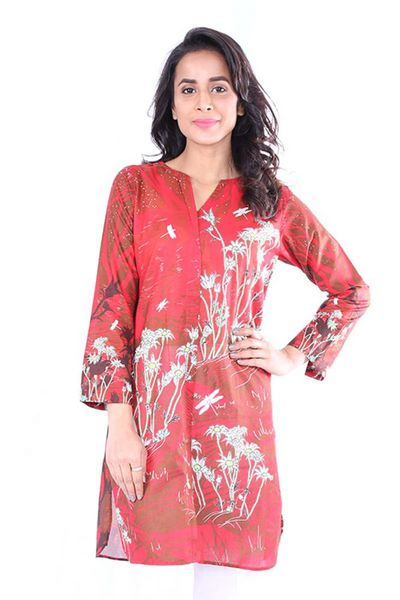 Red 1 Pc Printed Lawn Shirt GLS-18-104 by GulAhmed