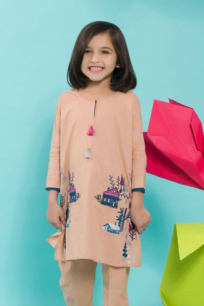 Peach 2 Pc Lawn Shirt Suit GLS-18-70 KIDS by GulAhmed