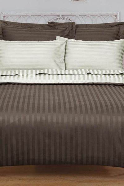 Coffee & Light Coffee Satin Stripe T-250 Quilt Cover Set by GulAhmed