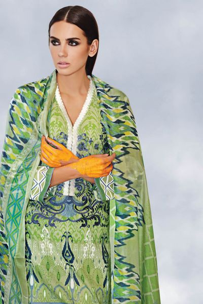 Parrot Green 3 Pc Embroidered Trencia Satin Silk Dress SS-110 by GulAhmed