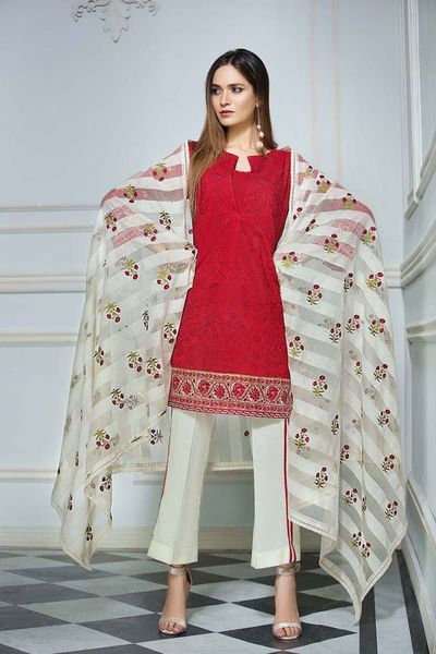 Red 3 Pc Silk Karndi Embroidered Suit KS-01 by GulAhmed
