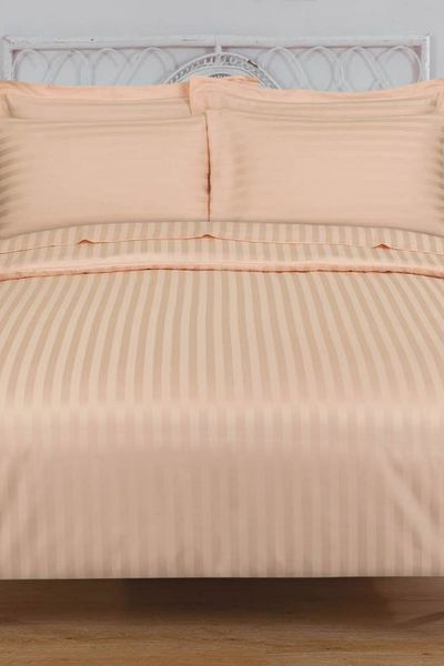 Peach STRIPE SATIN T-250 Quilt Cover Set by GulAhmed