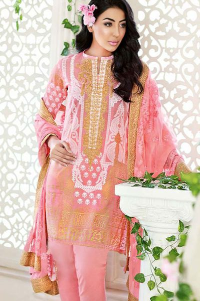 Baby Pink 3 Pc Printed Suit PM-193 by GulAhmed