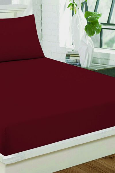 Red  Fitted Sheet DYED FITTED T-150 by GulAhmed
