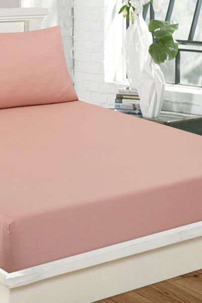 Rose-Pink  Fitted Sheet DYED FITTED T-150 by GulAhmed