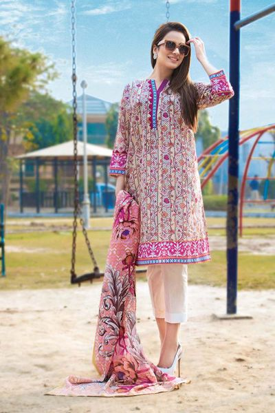 Pink 2 Pc Printed Lawn TL-146 A by GulAhmed