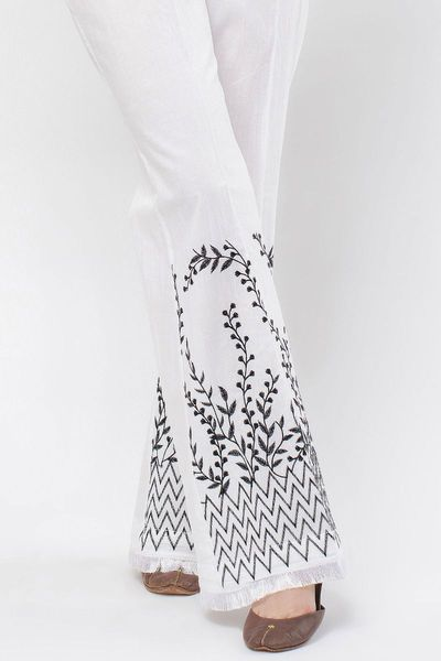Embroidered Boot Cut Pants by Khaadi