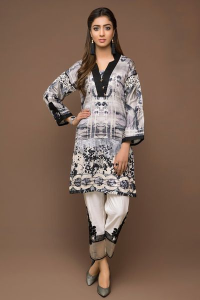 Embroidered Satin Shirt by Firdous Cloth