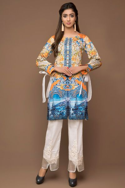 Digital Satin Shirt by Firdous Cloth
