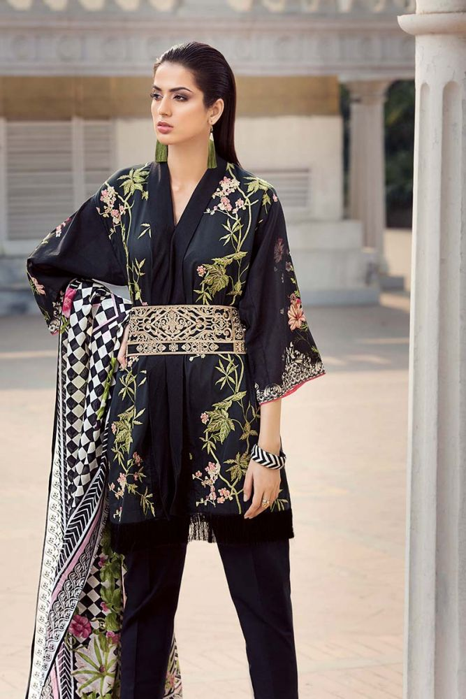 445e37e15c Black 3 Pc Embroidered Lawn CL-318 by GulAhmed