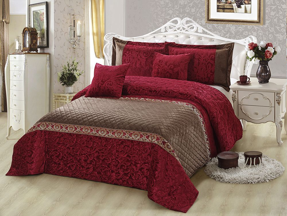 CRIMSON Velvet Bedcover Set 5 Pc by GulAhmed