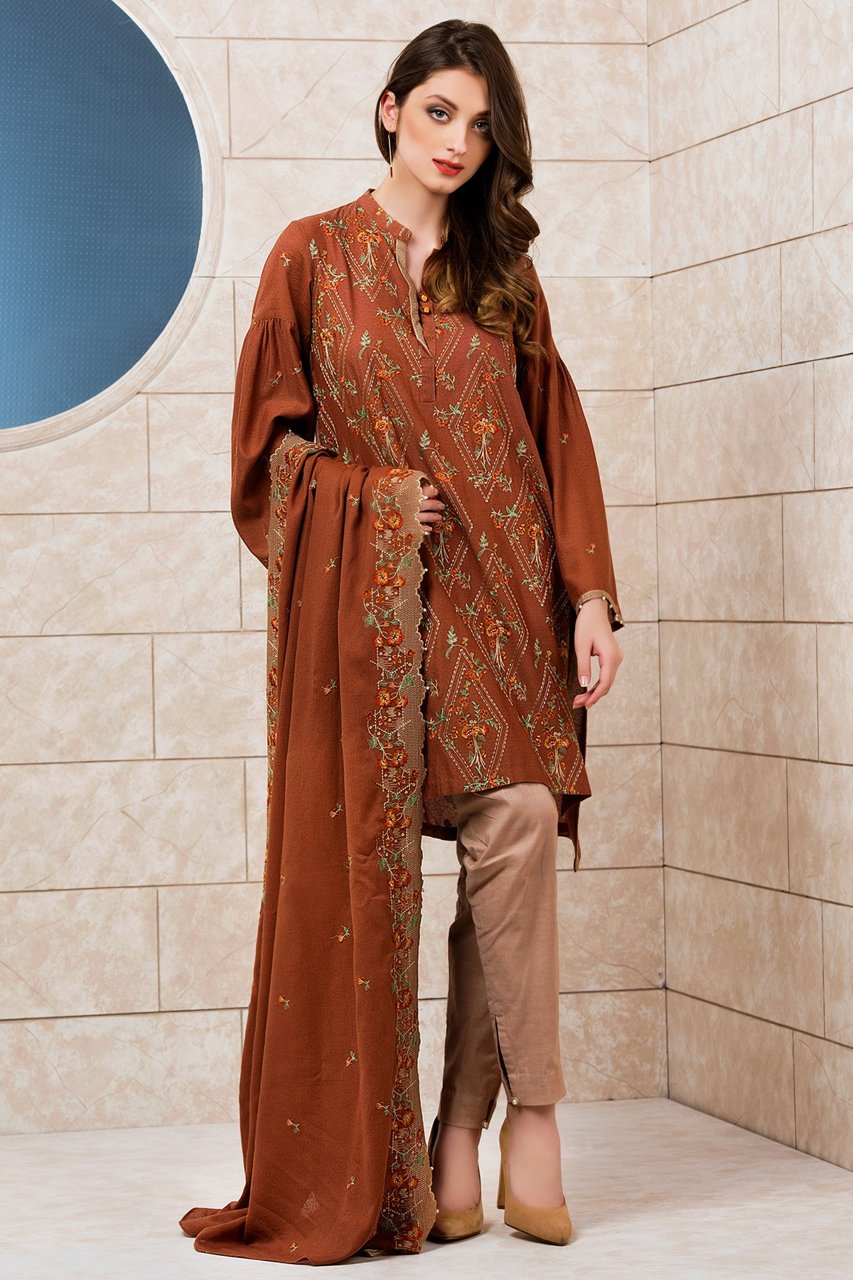 6d80f0775dc Embroidered Shirt With Dupatta by Kayseria
